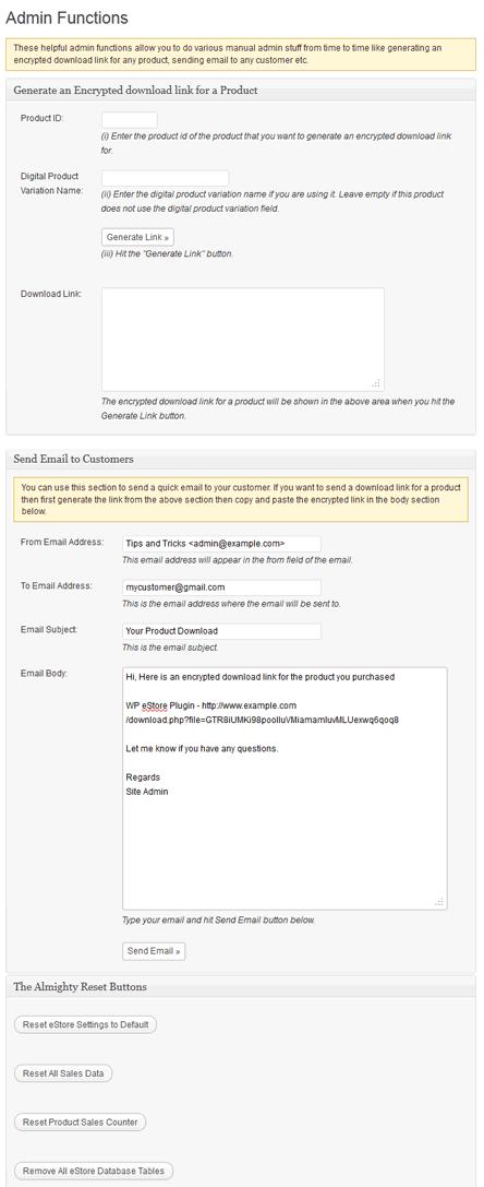 WP eStore Admin Functions Screen
