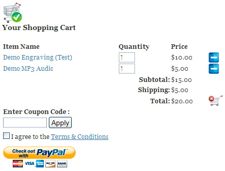Shopping Cart Screenshot with both Physical and Digital products