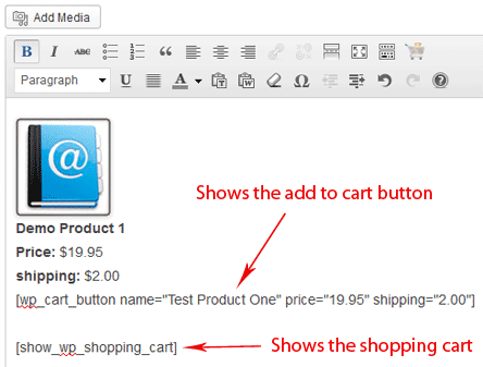 simple cart wp editor content example