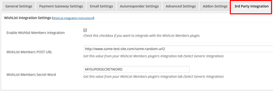 esotre-and-wishlist-members-integration-settings