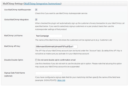 MailChimp Integration Settings Menu