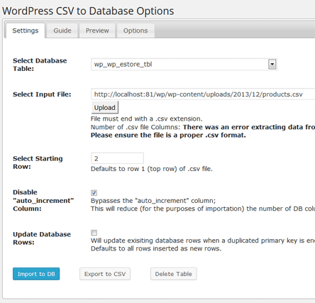 csv-to-db-product-import-settings