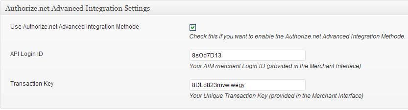authorize.net advanced integration (AIM) settings