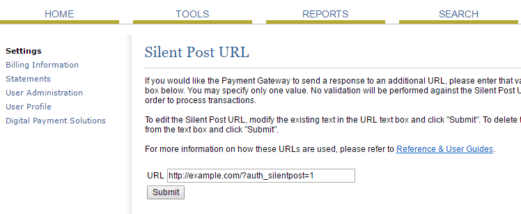 screenshot showing the silent post URL field in the authorize.net account