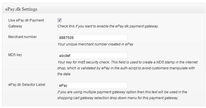 ePay.dk Gateway Setup 4