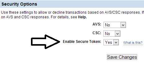 screenshot showing paypal manager security token settings