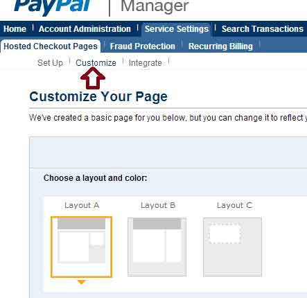 screenshot showing paypal manager layout options