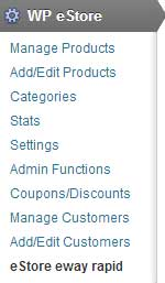 screenshot showing how to access eway rapid addon settings from the eStore menu