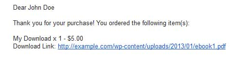 screenshot showing how download link is sent via email by wp shopping cart plugin
