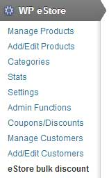 screenshot showing how to access the estore bulk discount addon menu