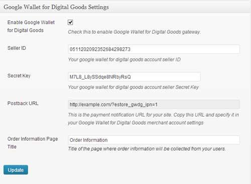 screenshot showing the settings menu for google wallet for digital goods addon