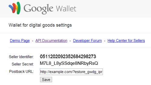 screenshot showing how to retrieve google wallet for digital goods api credentials