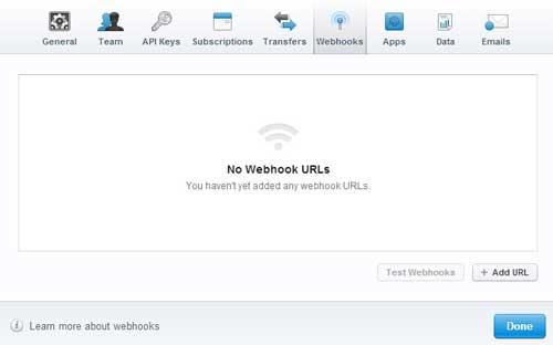 screenshot of stripe webhook settings