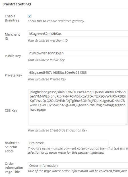 screenshot showing the settings menu for braintree addon
