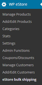 screenshot showing how to access the estore bulk quantity shipping addon menu