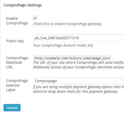 screenshot showing the settings menu for ComproPago addon