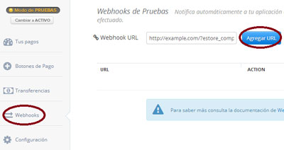 screenshot showing how to configure a webhook in your ComproPago merchant account
