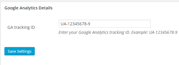 screenshot showing the eStore google analytics tracking addon settings