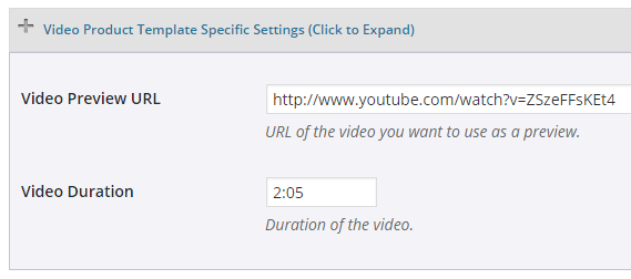 screenshot showing how to configure information for video product template