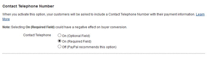 screenshot showing how to accept buyer phone number with a paypal order