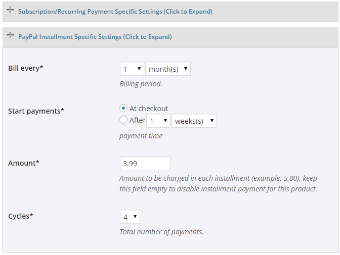 screenshot showing how to configure PayPal Installment specific settings in the WP eStore plugin
