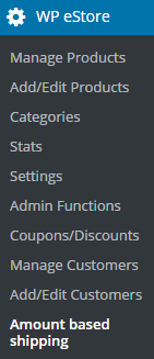 screenshot showing the amount based shipping menu in the estore plugin
