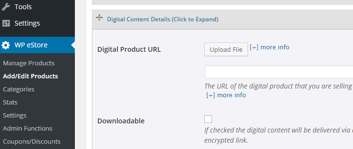 screenshot showing the digital content details section of estore plugin