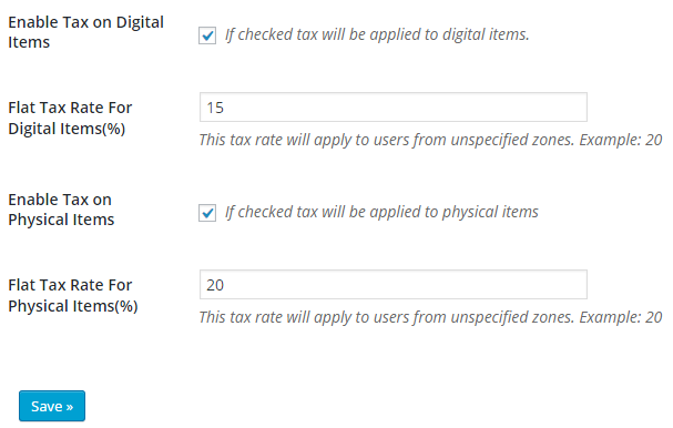 screenshot showing the default options of table rate tax by item types addon
