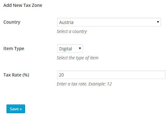screenshot showing the settings of table rate tax by item types addon