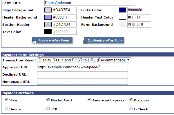 screenshot showing the payment form settings of USAePay gateway