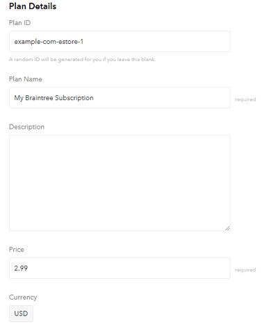 configure a plan name in braintree