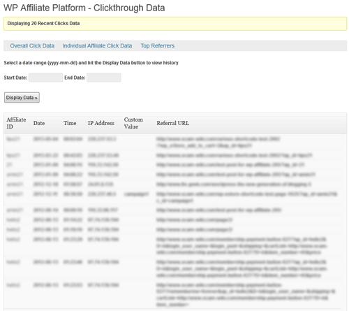 affiliate clicks data
