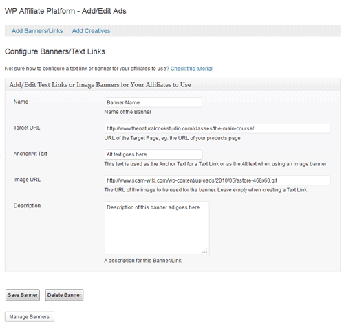 create affiliate ads menu