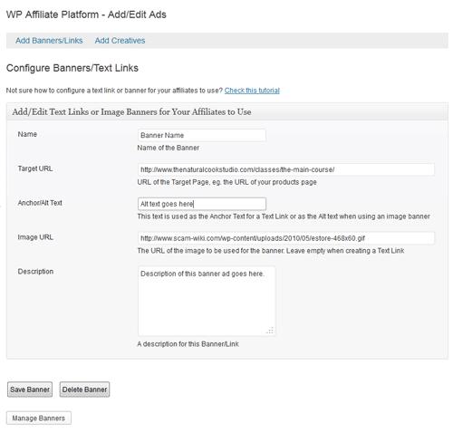 create affiliate ads menu