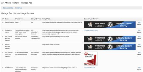 manage affiliate ads menu