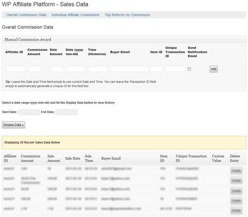 affiliate sales data