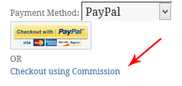 checkout-using-commission-option-in-the-cart