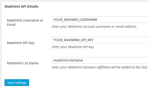 wp-affiliate-madmimi-integration-settings