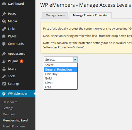 WP eMember Content Protection Management