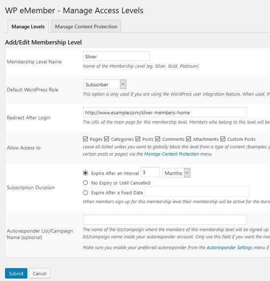 wp-emember-plugin-add-new-level-interface