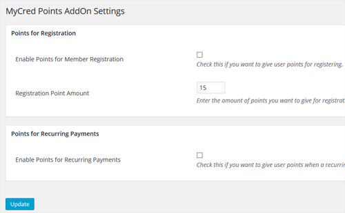 mycred-points-integration-addon-settings