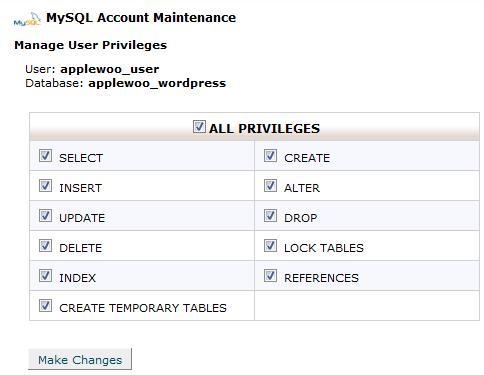 how to add privilage to mysql database