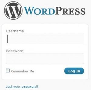 WordPress tela de login
