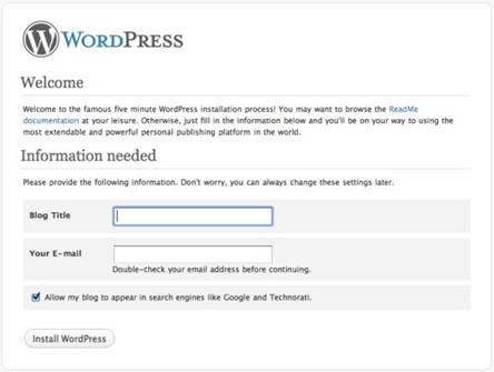 WordPress Blog Setup Screen