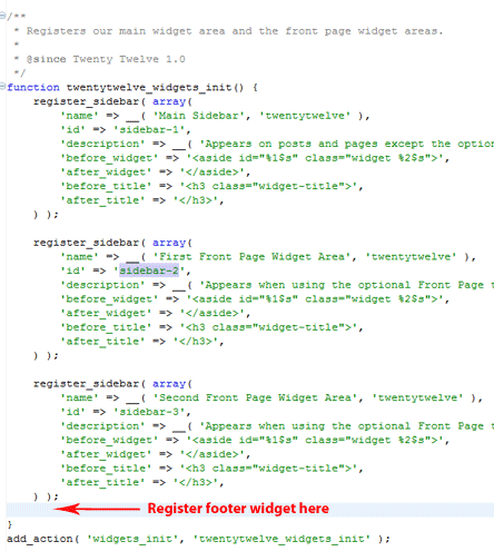 footer widget area registration example