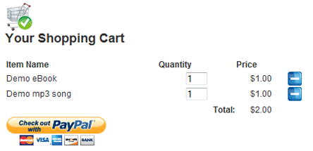 WP eStore Shopping Cart Screenshot