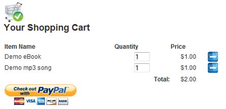 WP eStore Shopping Cart Screenshot