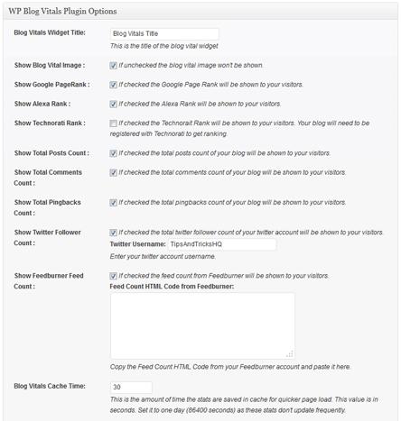 wordpress blog stats plugin settings