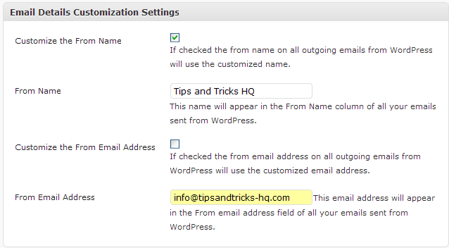 """Settings Screen of the Change """"Email From Details"""" Plugin"""