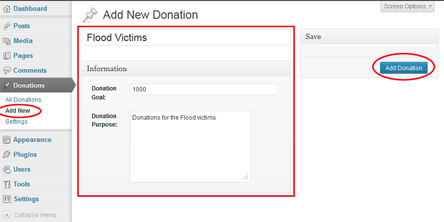 creating a new donation